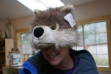 Mona models the latest in wolf fashion. I don't think she's fooling any of the wolves with this hat.